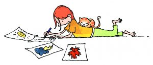 Girl writing with cat